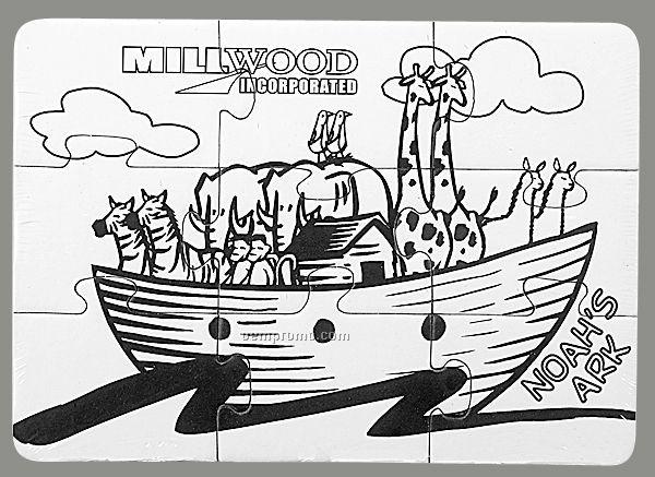 9-piece Coloring Puzzle With Crayons / Noah's Ark - 1 Color