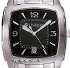 Pedre Men's Black Dial Triumph Metal Watch W/ Stainless Steel Bracelet