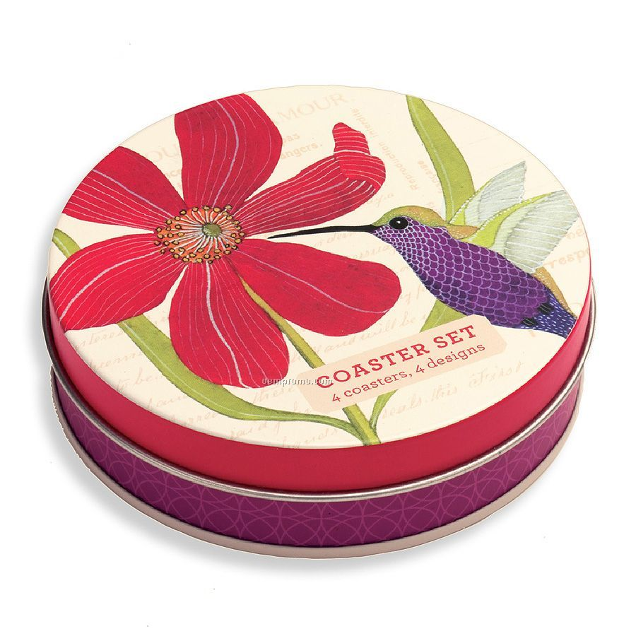 Avian Friends Tin Coaster Set