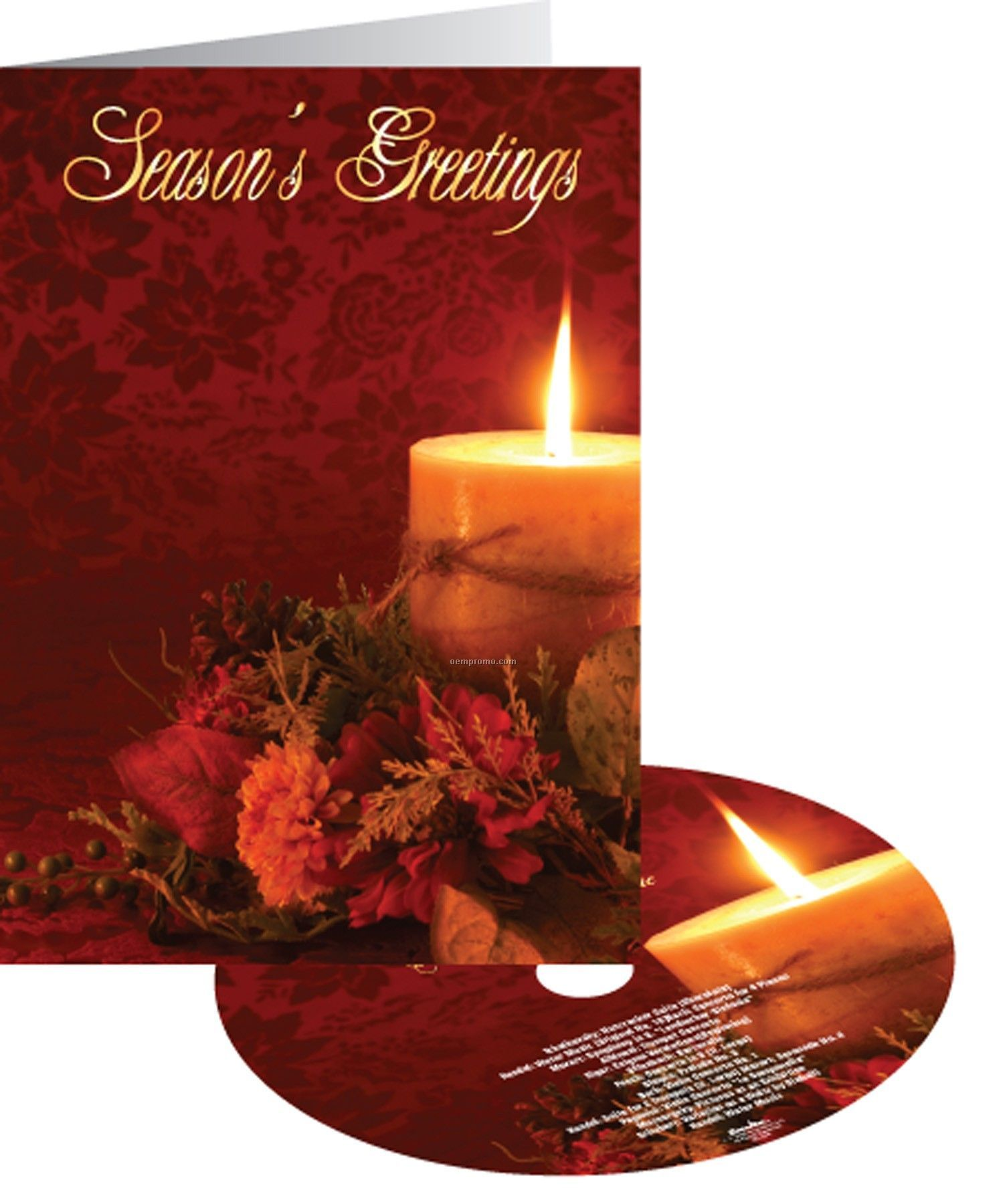 Floral Candle Season's Greetings Holiday Card With Matching CD
