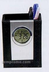 Leather Pen Holder W/Digital Clock