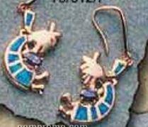 Rose Sterling Silver Jewelry - Blue Kokopelli Earrings