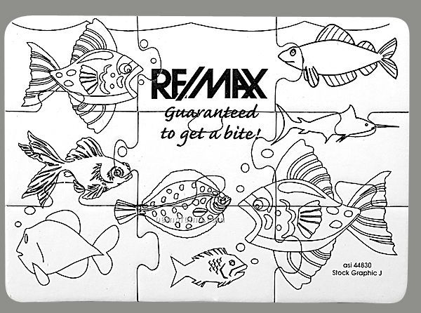 9-piece Coloring Puzzle With Crayons / Fish Bowl - 1 Color
