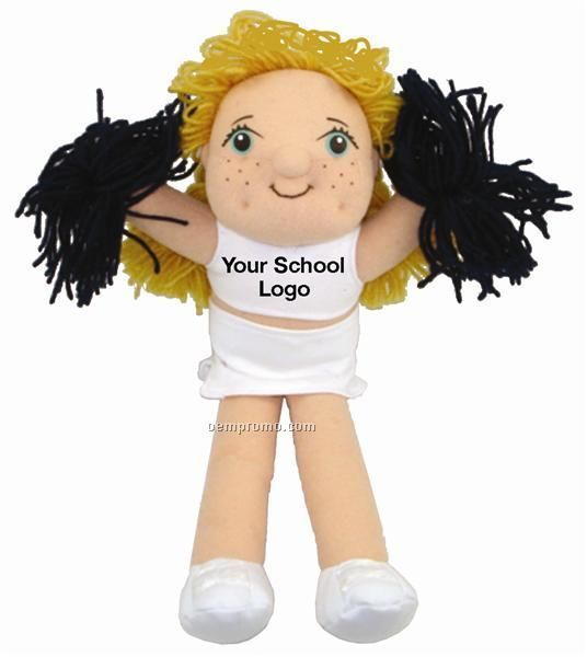 Blonde Cheerleader Doll With Imprinted T-shirts & Pom Poms