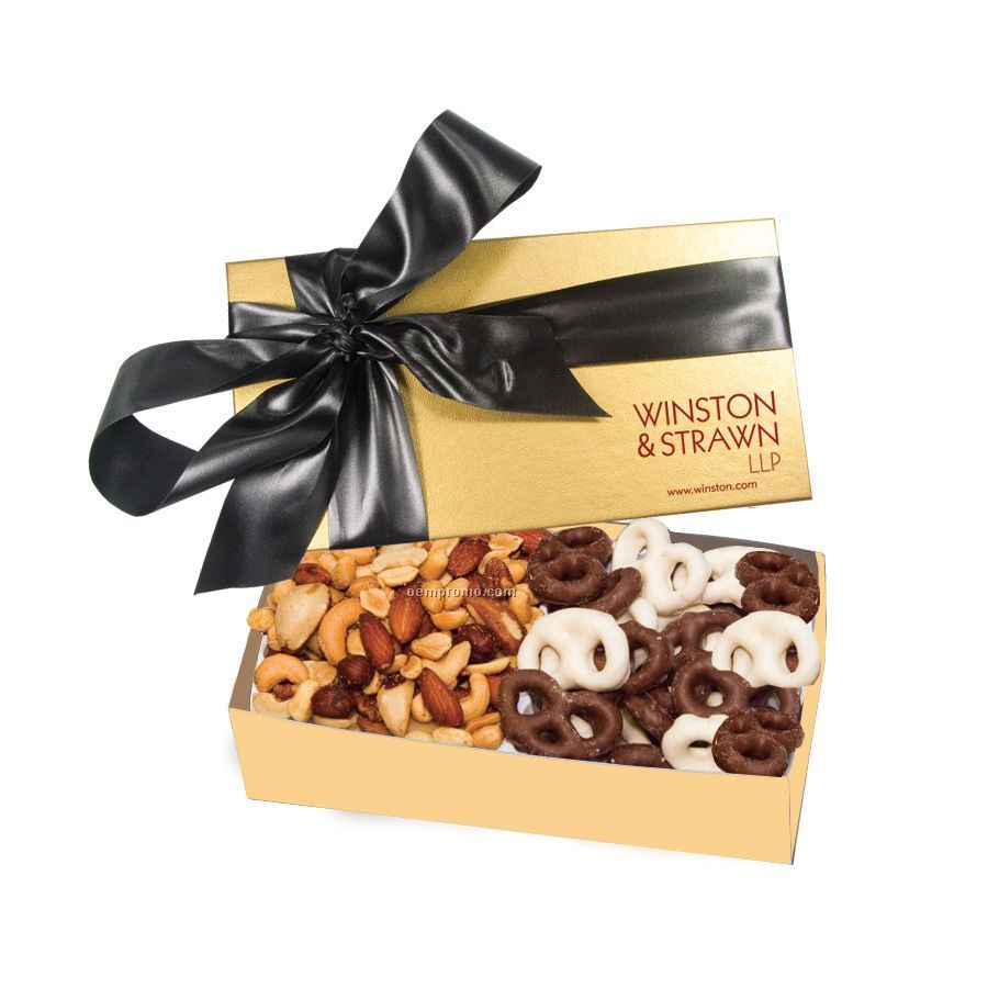 The Executive Gold Chocolate Covered Pretzels & Mixed Nuts Box