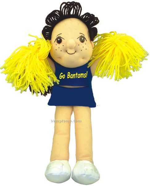 Brunette Cheerleader Doll With Imprinted T-shirts & Pom Poms