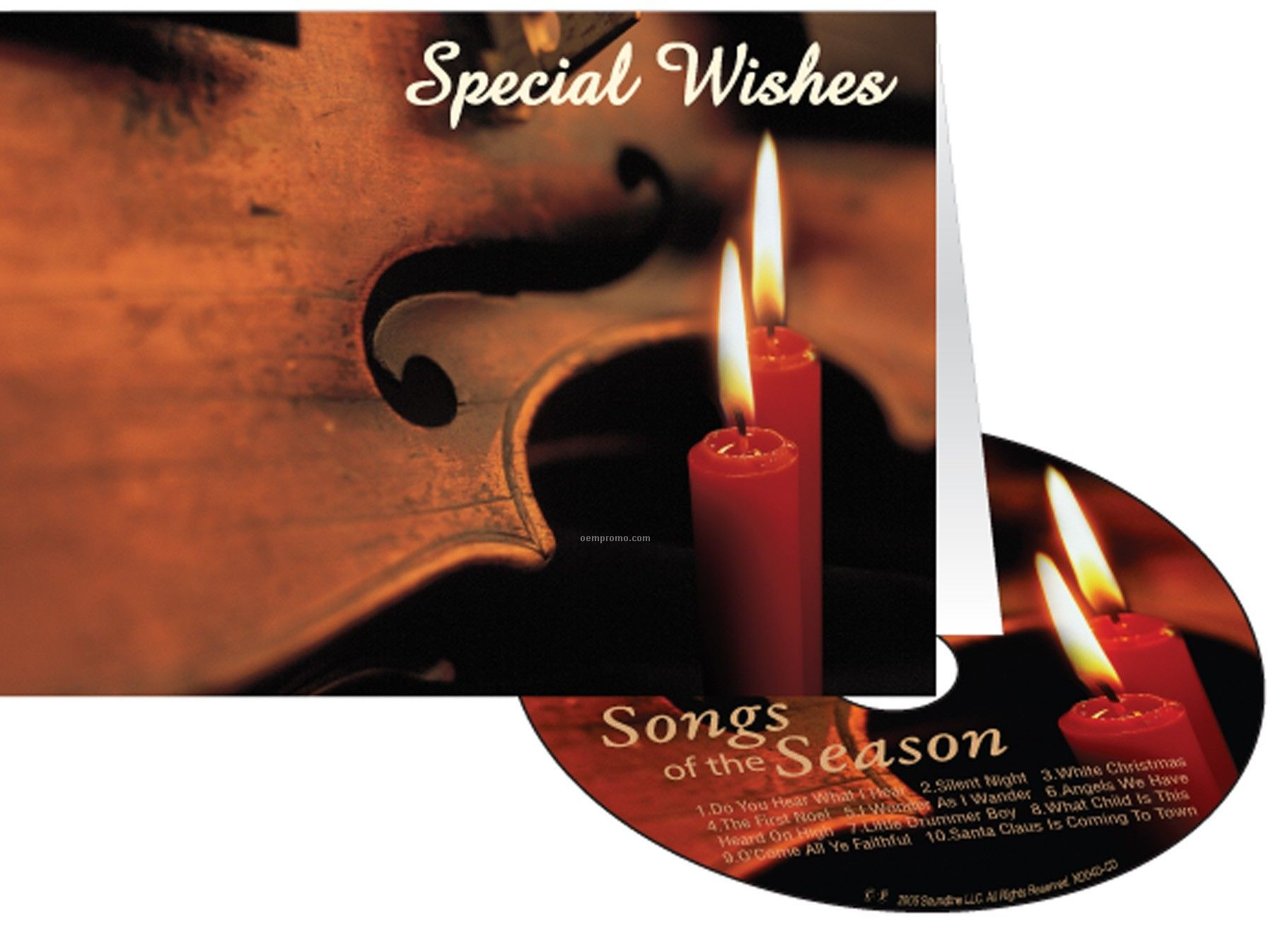 Candles & Violin Special Wishes Holiday Greeting Card With Matching CD