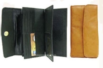 """Ladies' Black 7"""" Stone Wash Cowhide Checkmate Gusseted Wallet"""