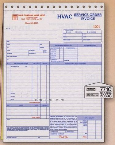 Hvac Service Order/ Invoice With Environmental Checklist (4 Part)