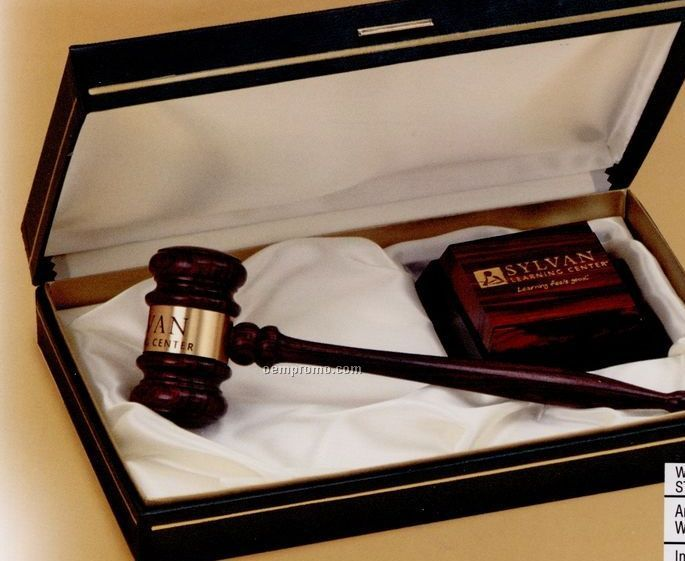 Imported Rosewood Standard Chairman Gavel W/ Presentation Case