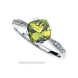 14kw Genuine Peridot And .04 Diamond Ring