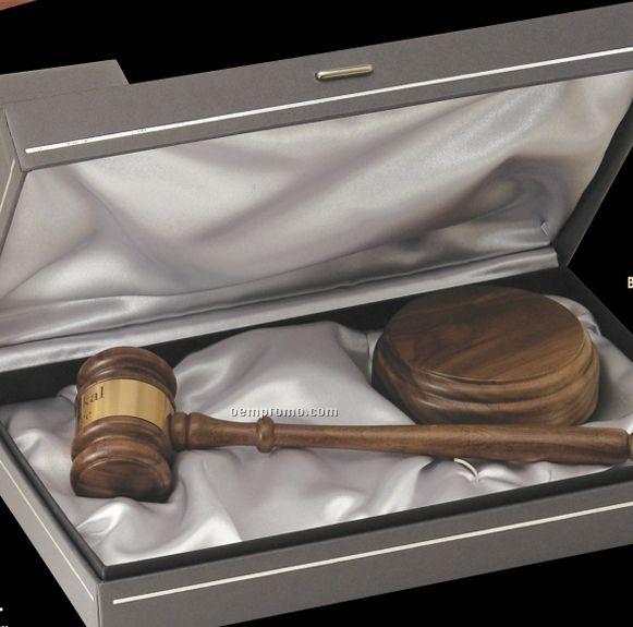 American Walnut Standard Chairman Gavel W/ Presentation Case