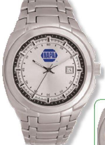 Pedre Daytona Silver Watch W/ Stainless Steel Bracelet & Black Inner Ring