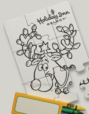 9-piece Coloring Puzzle With Crayons / Reindeer - 1 Color
