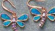 Rose Sterling Silver Jewelry - Dragonfly Opal/Amethyst Earrings