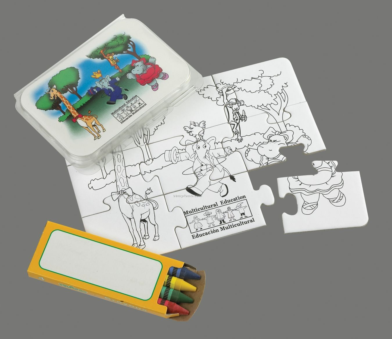 9-piece Coloring Puzzle & Crayons In Clear Plastic Tub