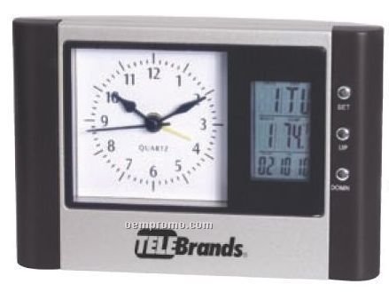 Desk Clock With Analog/ Digital Display & Thermometer