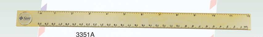 "Gold Plated Brass 12"" Ruler W/ Brass Medallion (Screened)"