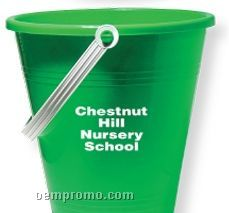 "9"" Green Pail With Shovel (Printed)"