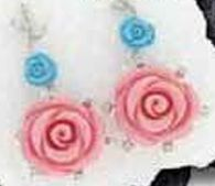Sterling Silver Jewelry - Flower Design Earrings W/ Coral, Turquoise & Cz