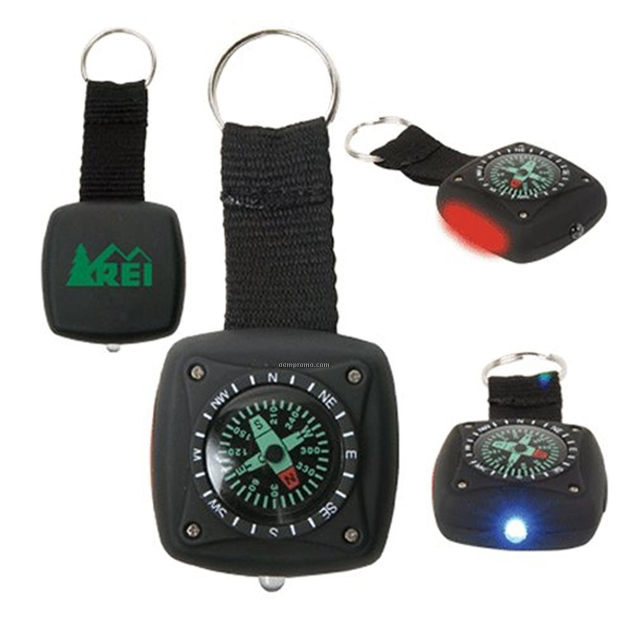 Light Up Military Compass W/ Red & White LED