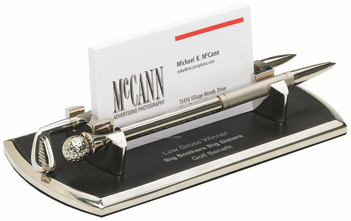 Metal Golf Business Card Holder With Pen & Letter Opener