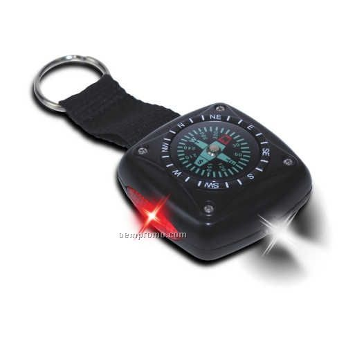 LED Flashlight Keychain W/ Compass