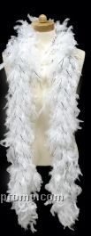 6' White Feather Boa With Silver Tinsel
