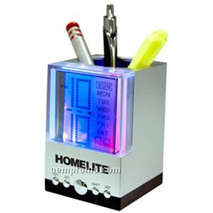 Light Up Clock - Calendar - Pen Holder - Multi Color LED