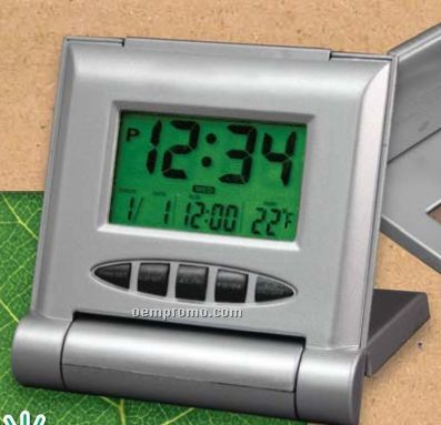 Solar Hybrid Folding Travel Alarm Clock