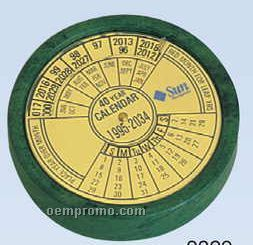 "2-1/4""X7/8"" Green Marble 40-year Calendar (Screened)"