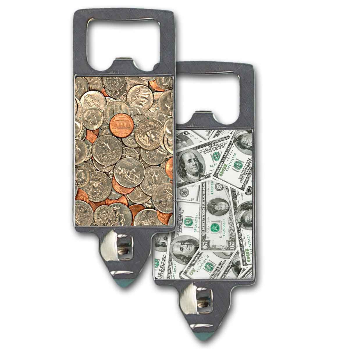 2 In 1 Can And Bottle Opener W/ Animated Dollars And Cents Images (Blank)