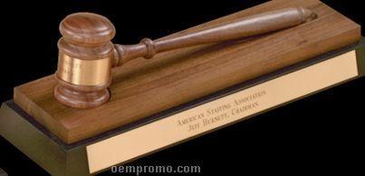 American Walnut Standard Gavel W/ Desk Stand
