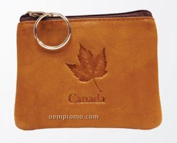 Pink Leatherette Credit Card & Change Purse W/ Key Ring