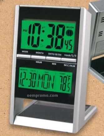 Solar Hybrid Executive Clock W/Temperature