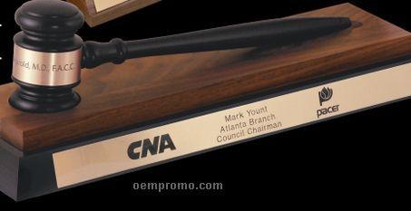 Ebony & American Walnut Standard Gavel W/ Desk Stand