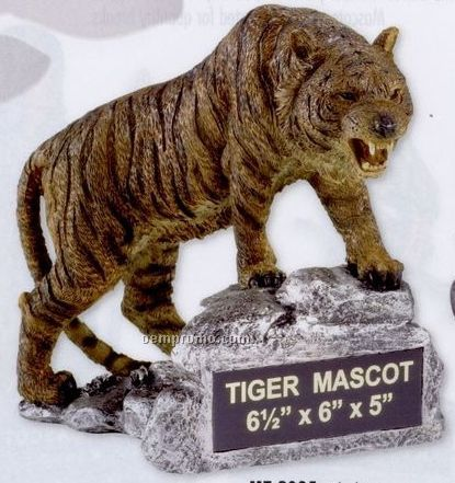 Brown Tiger School Mascot W/ Plate