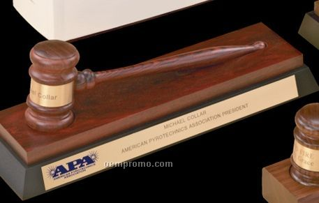 Imported Rosewood Standard Gavel W/ Rosewood & Ebony Desk Stand