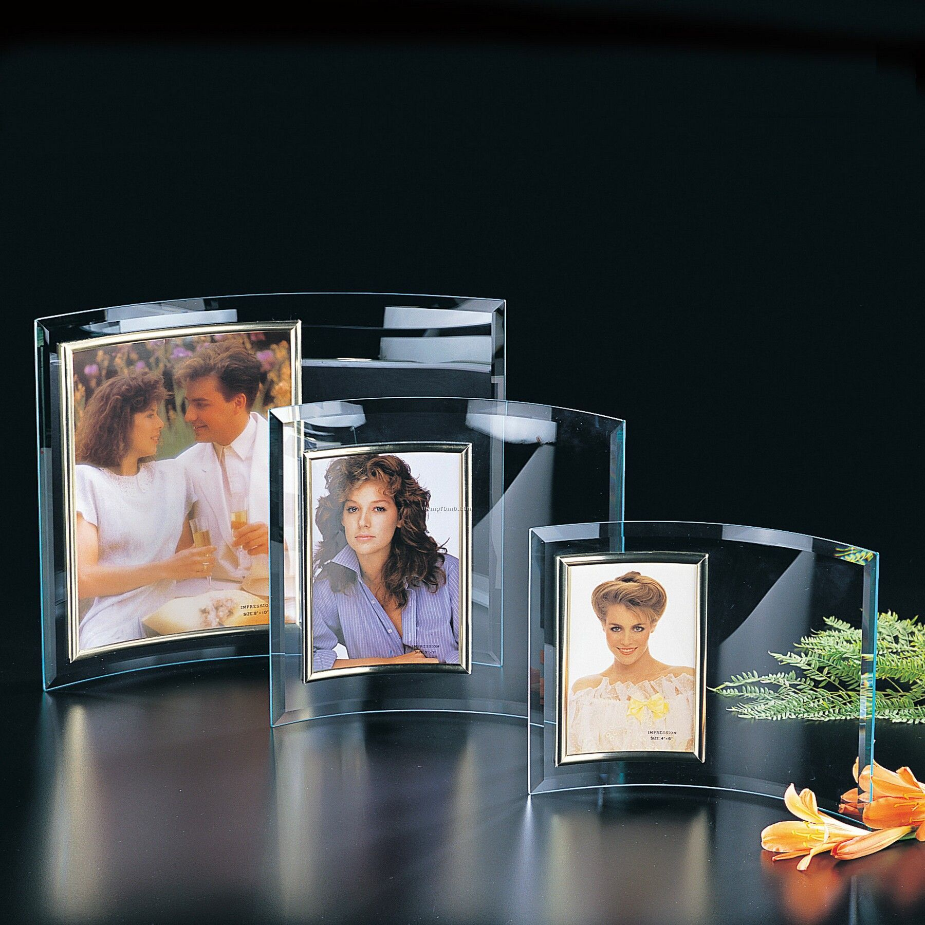 Large Vertical Jade Curved Glass Photo Frame
