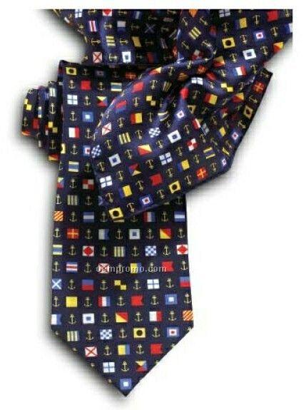 "Wolfmark Nautical Flag Novelty Neckwear 100% Silk Tie (58""X3-7/8"")"