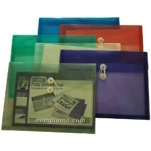 """Blue Poly Envelope With Button String Closure (14""""X10 1/4"""")"""