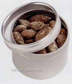 """Chocolate Covered Nuts Or Fruit In Window Metal Tin - 4 Oz. (2 1/4""""X1 5/8"""")"""