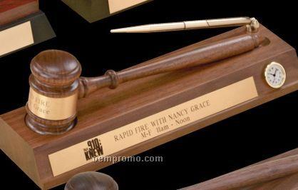 American Walnut Standard Gavel W/ Clock & Pen On Desk Stand
