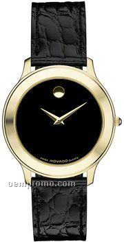 Men's Movado Folio Gold Plated Round Watch W/ Leather Strap