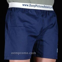 White Broadcloth Boxer Shorts With Exposed Elastic Waist