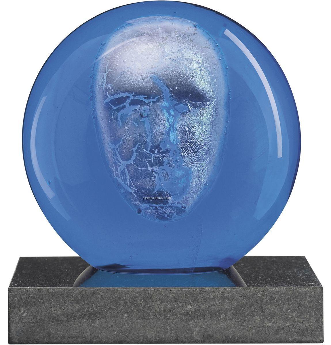 Headman Glass Art W/ Face Sculpture By Bertil Vallien (Blue)