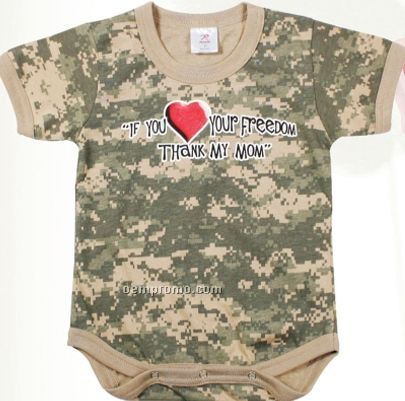 Army Digital Camouflage Thank My Mom Infant Romper