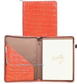 Chocolate Plonge Leather Zip Letter Pad