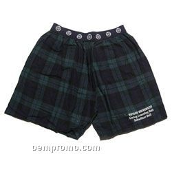Flannel Boxer Shorts With Exposed Elastic Waist