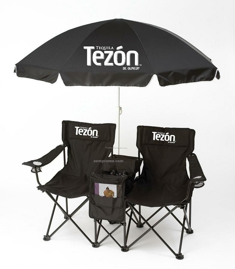 Folding Foldable Double Beach Chair Set With Umbrella